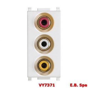 Presa con 3 connettori RCA bianco - VIMAR SPA VY7371