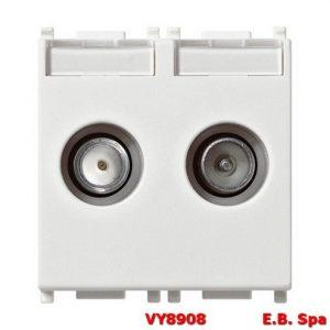 Presa TV-RD-SAT diretta 2 uscite bianco - VIMAR SPA VY8908