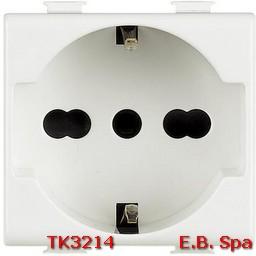 Presa di corrente Schuko bipasso BTicino Matix 2P+T 16 A P40 standard italiano - tedesco colore bianco 2 moduli - BTICINO S.P.A TK3214
